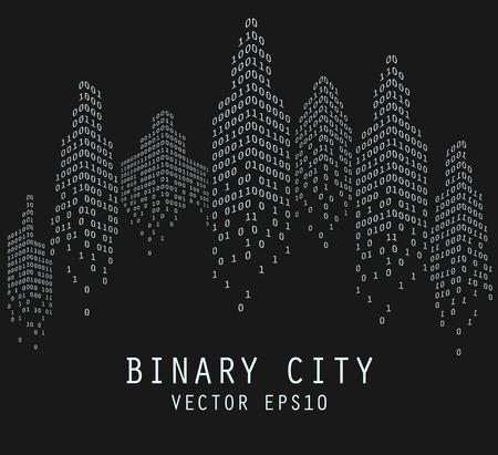 codigo binario: C�digo binario en forma de horizonte de la ciudad futurista, ilustraci�n vectorial Foto de archivo