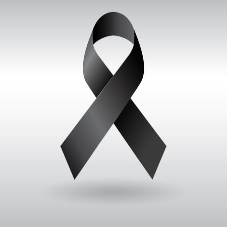 ruban noir: Ruban noir vecteur, deuil et signe de mélanome Banque d'images