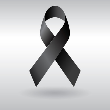 Black ribbon vector, mourning and melanoma sign