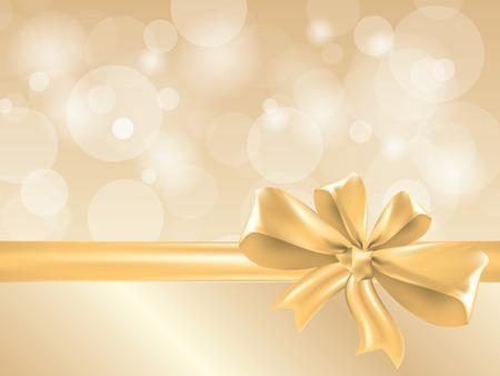 Arco de regalo de oro y cinta, el lugar de texto vector