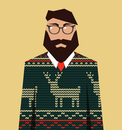 jacquard: Hipster man in knitted jacquard sweater, vector illustration
