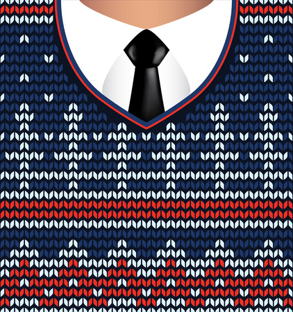 jacquard: Jacquard knitted sweater and white shirt with tie, vector background