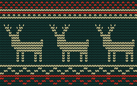 jacquard: Knitted jacquard pattern with deer, vector seamless texture