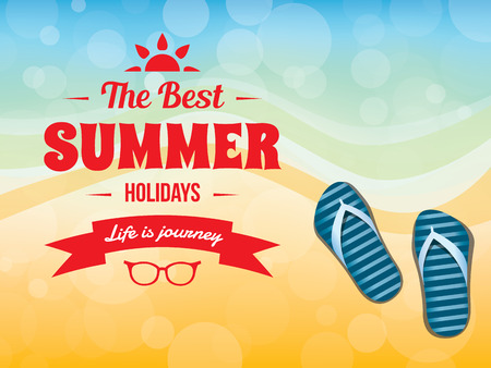 summer vacation: Summer typography vector design with beach sand and flip flop sandals Stock Photo
