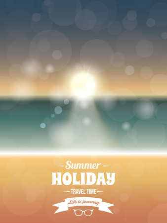 Summer typography vector design with beach sunset seaside photo