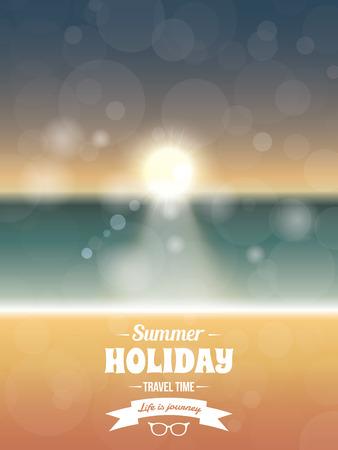 beach sunset: Summer typography vector design with beach sunset seaside