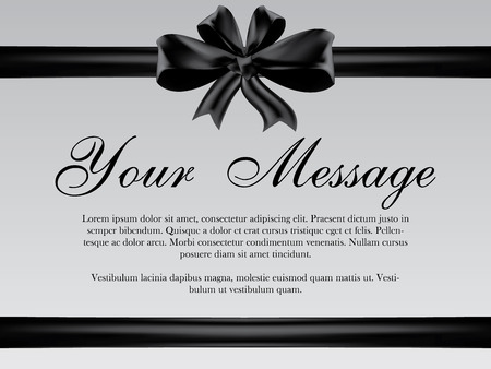 condolence: Vector funeral card with black ribbon, place for text