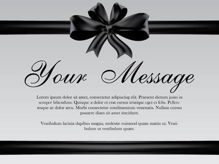 luto: Vector tarjeta de funeral con cinta negro, el lugar de texto