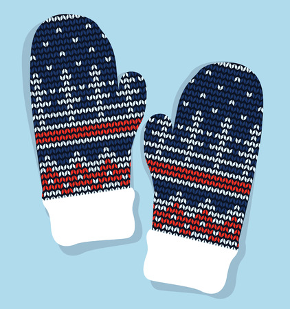 jacquard: Winter mittens knitted with jacquard vector isolated