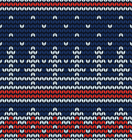 jacquard: Knitted jacquard pattern with winter landscape, vector seamless texture Illustration