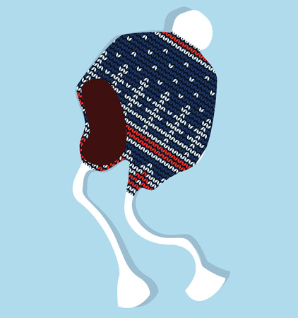 jacquard: Winter cap knitted with jacquard vector isolated