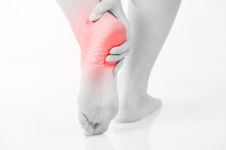feet naked: Female foot heel pain, Womans problem concept