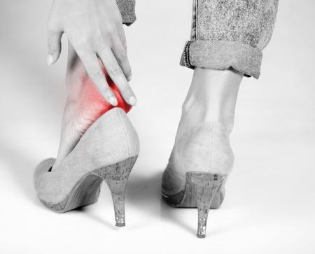 Female pain in heel when wearing high heels