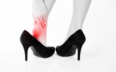 Female pain in heel when wearing high heels photo