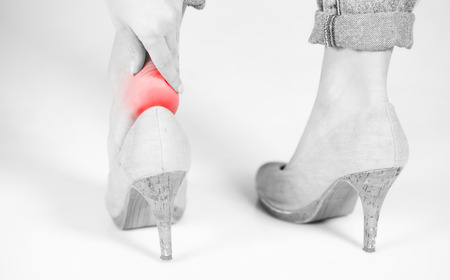 Womans legs ankle pain in high heels photo