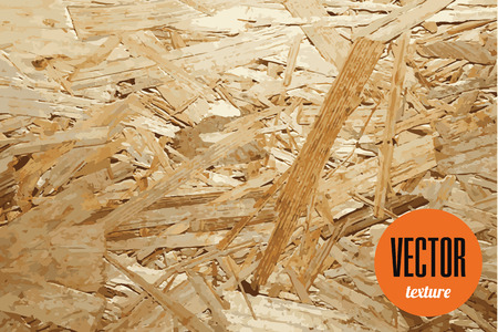 Vector OSB pressed wooden panel texture, wood board background