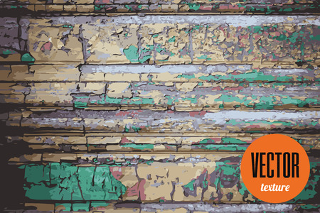 paint peeling: Vector peeling paint over wood texture, grunge background