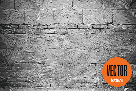 cement texture: Vector texture grey brick wall with cement, grunge background Illustration