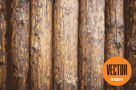 Vector wooden palisade fence texture, grunge background