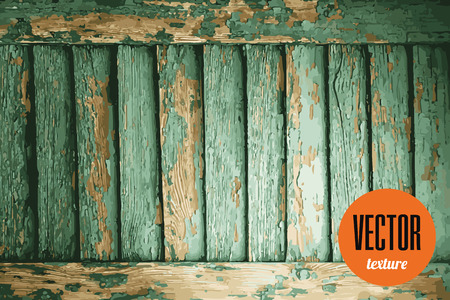 paint peeling: Vector texture green wooden planks with peeling paint