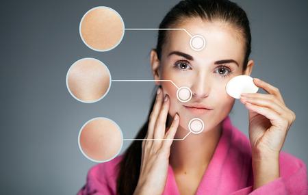 piel humana: Concepto de cuidado de la piel y la cara sana con flechas infogr�ficas Foto de archivo