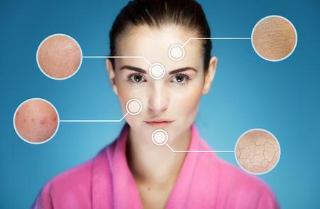 Concept huidverzorging en huidproblemen van gezicht met infographic pijlen Stockfoto - 35506039