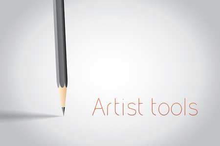 place for text: Pencil with place for text, vector background