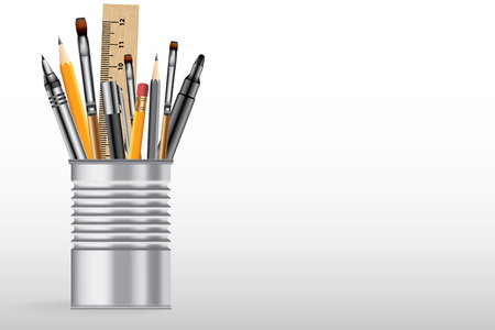 tin: School supplies in tin can, vector background