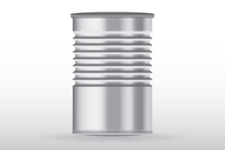 ribbed: Tin can, ribbed metal tincan vector isolated