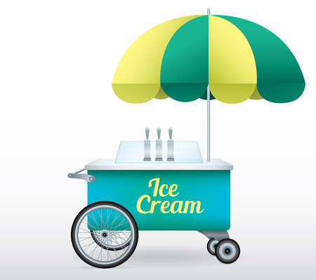 Ice Cream stand cart vector illustration isolated object Archivio Fotografico