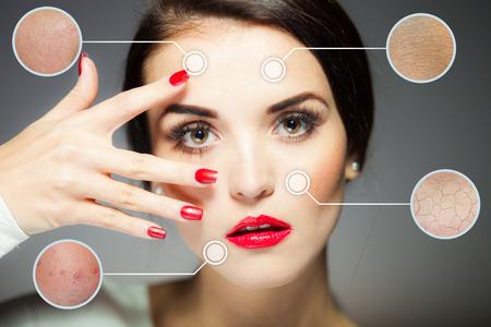 tratamientos faciales: Concepto de belleza de la cara, los procedimientos de lucha contra el envejecimiento de la piel facial Foto de archivo