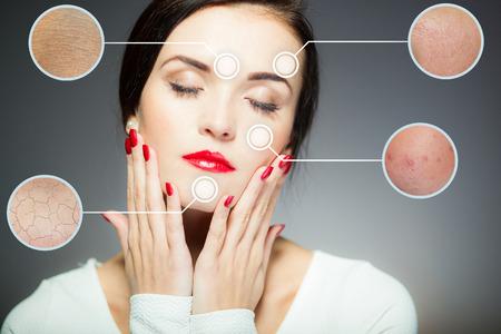 顔の皮膚上のプロシージャをアンチエイジングの美容顔コンセプト 写真素材