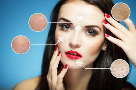 aging skin: Beauty face concept, anti aging procedures on facial skin