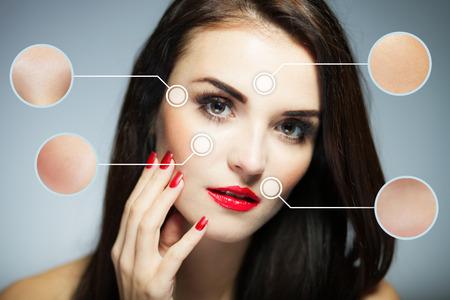 limpieza de cutis: Concepto de belleza de la cara, los procedimientos de lucha contra el envejecimiento de la piel facial Foto de archivo