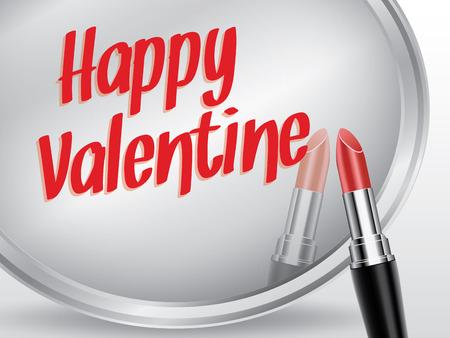 dressing room: Happy valentine written by red lipstick on mirror, vector illustration