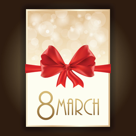 8 march: Gift card for 8 march womens day, vector illustration