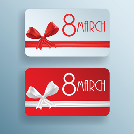 8 march: Gift card for 8 march womens day, vector illustration set Illustration