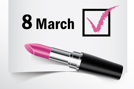 8 march: Tick box with lipstick, 8 March concept of woman choice vector