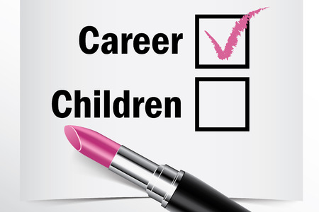 tick box: Tick box with lipstick, Career or Children concept of woman choice vector