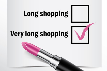 finished good: Tick box with lipstick, Long shopping concept of woman choice vector