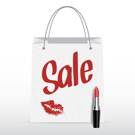 Vector shopping bag with lipstick and Sale inscription Vector