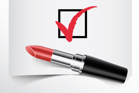 tick box: Tick box with lipstick concept of woman choice vector Illustration