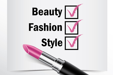 tick box: Tick box with lipstick, Beauty Fashion Style concept of woman choice vector
