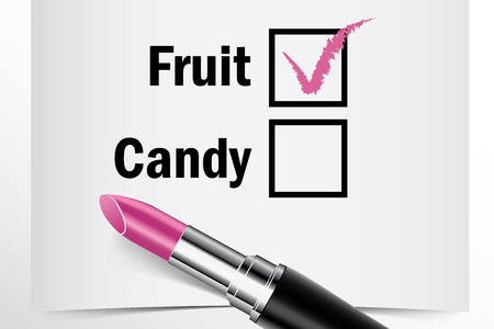 candy box: Tick box with lipstick, Fruit or Candy concept of woman choice vector