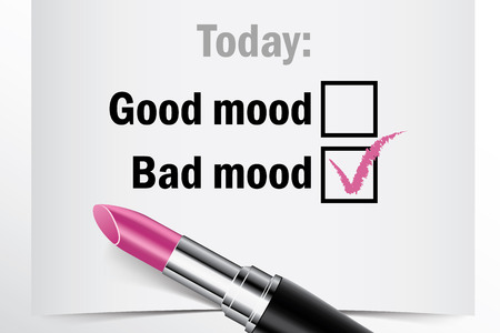 bad mood: Tick box with lipstick, good or bad mood concept of woman choice vector Illustration