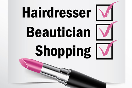 beautician: Tick box with lipstick, Hairdresser Beautician Shopping concept of woman choice vector
