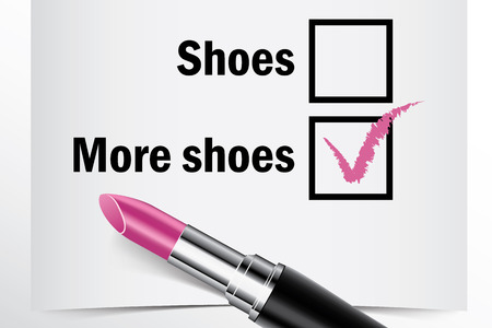 tick box: Tick box with lipstick, Shoes or More shoes concept of woman choice vector Illustration