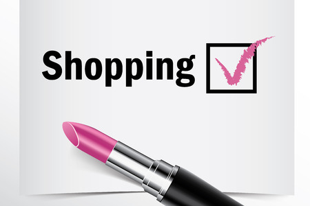 finished good: Tick box with lipstick, Shopping concept of woman choice vector Illustration