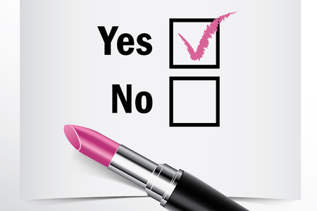tick box: Tick box with lipstick, Yes or No concept of woman choice vector