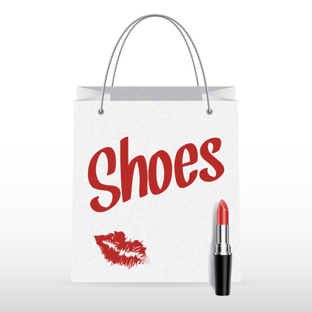 Vector shopping bag with lipstick and Shoes inscription Vector
